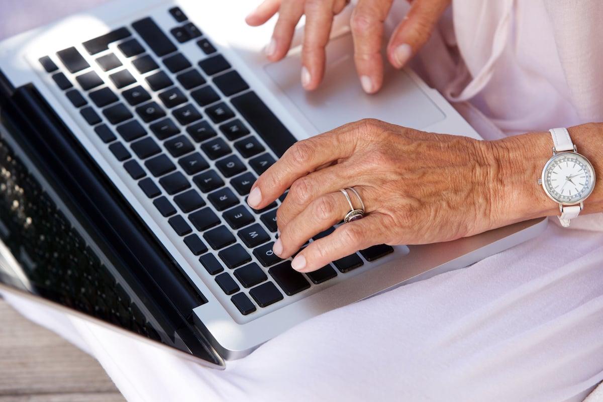 Senior woman using social media